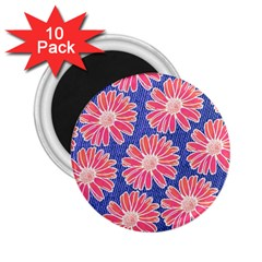 Pink Daisy Pattern 2 25  Magnets (10 Pack)