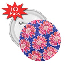 Pink Daisy Pattern 2 25  Buttons (100 Pack)  by DanaeStudio