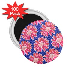 Pink Daisy Pattern 2 25  Magnets (100 Pack)  by DanaeStudio