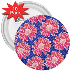 Pink Daisy Pattern 3  Buttons (10 Pack)  by DanaeStudio