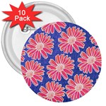 Pink Daisy Pattern 3  Buttons (10 pack)