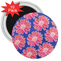Pink Daisy Pattern 3  Magnets (10 Pack)  by DanaeStudio