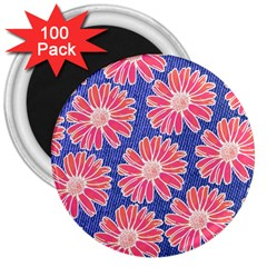 Pink Daisy Pattern 3  Magnets (100 Pack) by DanaeStudio