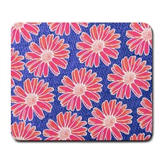 Pink Daisy Pattern Large Mousepads