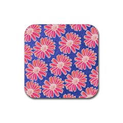 Pink Daisy Pattern Rubber Coaster (square)  by DanaeStudio