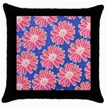 Pink Daisy Pattern Throw Pillow Case (Black) Front