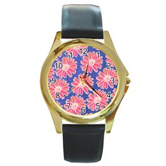 Pink Daisy Pattern Round Gold Metal Watch by DanaeStudio