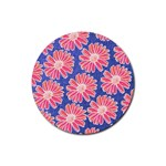 Pink Daisy Pattern Rubber Round Coaster (4 pack)