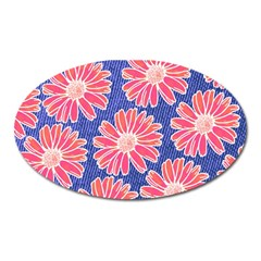 Pink Daisy Pattern Oval Magnet by DanaeStudio