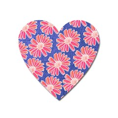 Pink Daisy Pattern Heart Magnet by DanaeStudio