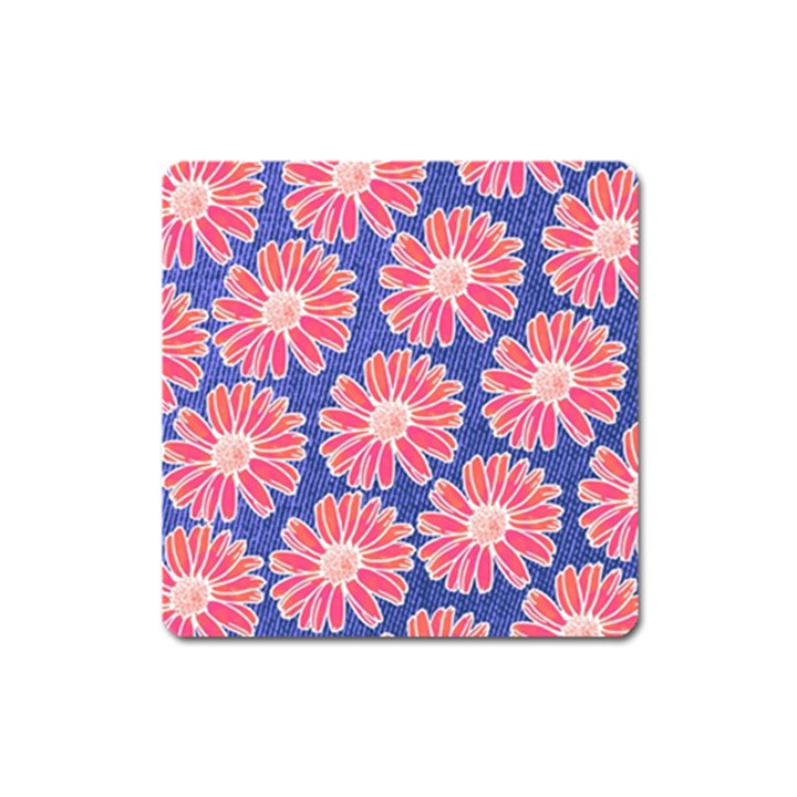 Pink Daisy Pattern Square Magnet