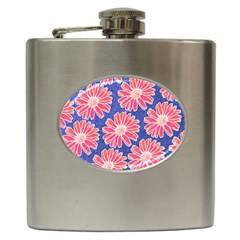 Pink Daisy Pattern Hip Flask (6 Oz) by DanaeStudio