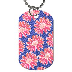 Pink Daisy Pattern Dog Tag (two Sides) by DanaeStudio