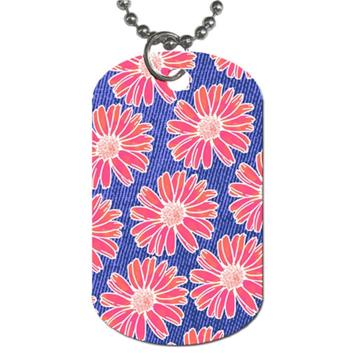Pink Daisy Pattern Dog Tag (Two Sides)
