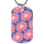 Pink Daisy Pattern Dog Tag (Two Sides) Back