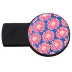 Pink Daisy Pattern USB Flash Drive Round (2 GB)  Front