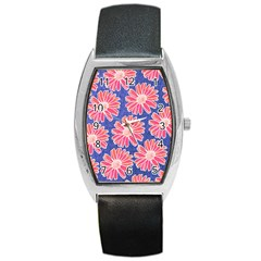 Pink Daisy Pattern Barrel Style Metal Watch by DanaeStudio