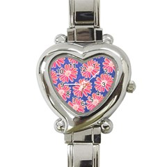 Pink Daisy Pattern Heart Italian Charm Watch by DanaeStudio