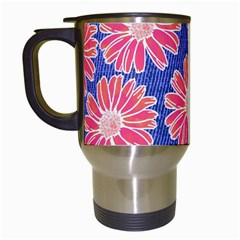 Pink Daisy Pattern Travel Mugs (white) by DanaeStudio