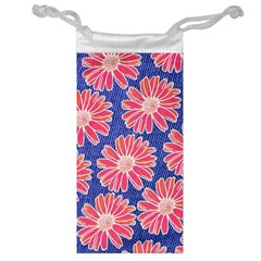 Pink Daisy Pattern Jewelry Bags by DanaeStudio