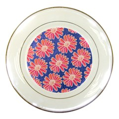 Pink Daisy Pattern Porcelain Plates by DanaeStudio