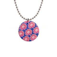 Pink Daisy Pattern Button Necklaces by DanaeStudio