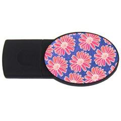 Pink Daisy Pattern Usb Flash Drive Oval (4 Gb)