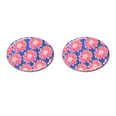 Pink Daisy Pattern Cufflinks (oval) by DanaeStudio