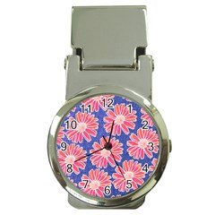 Pink Daisy Pattern Money Clip Watches by DanaeStudio