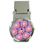 Pink Daisy Pattern Money Clip Watches Front