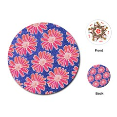Pink Daisy Pattern Playing Cards (round)