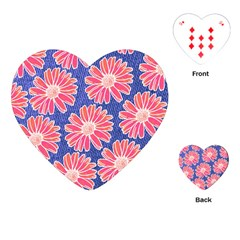 Pink Daisy Pattern Playing Cards (heart)  by DanaeStudio