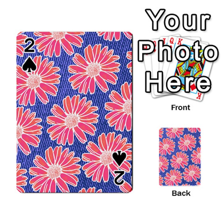 Pink Daisy Pattern Playing Cards 54 Designs