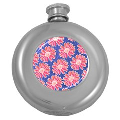 Pink Daisy Pattern Round Hip Flask (5 Oz) by DanaeStudio