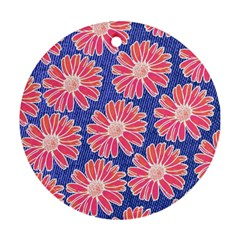 Pink Daisy Pattern Round Ornament (two Sides)  by DanaeStudio