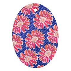 Pink Daisy Pattern Oval Ornament (two Sides) by DanaeStudio