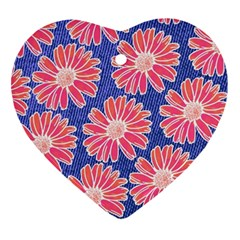 Pink Daisy Pattern Heart Ornament (2 Sides) by DanaeStudio