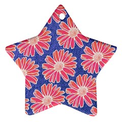 Pink Daisy Pattern Star Ornament (two Sides)  by DanaeStudio