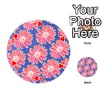 Pink Daisy Pattern Playing Cards 54 (Round)  Front - Heart4