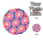 Pink Daisy Pattern Playing Cards 54 (Round)  Front - Heart6