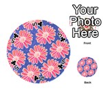 Pink Daisy Pattern Playing Cards 54 (Round)  Front - Club5