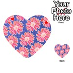Pink Daisy Pattern Playing Cards 54 (Heart)  Front - HeartK
