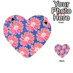 Pink Daisy Pattern Playing Cards 54 (Heart)  Front - Spade9