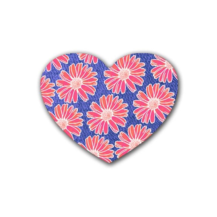 Pink Daisy Pattern Rubber Coaster (Heart)