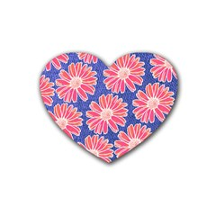 Pink Daisy Pattern Heart Coaster (4 Pack)  by DanaeStudio