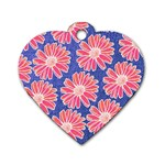 Pink Daisy Pattern Dog Tag Heart (One Side)
