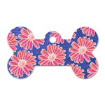Pink Daisy Pattern Dog Tag Bone (Two Sides)