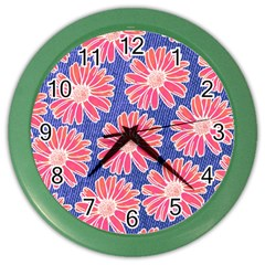 Pink Daisy Pattern Color Wall Clocks by DanaeStudio