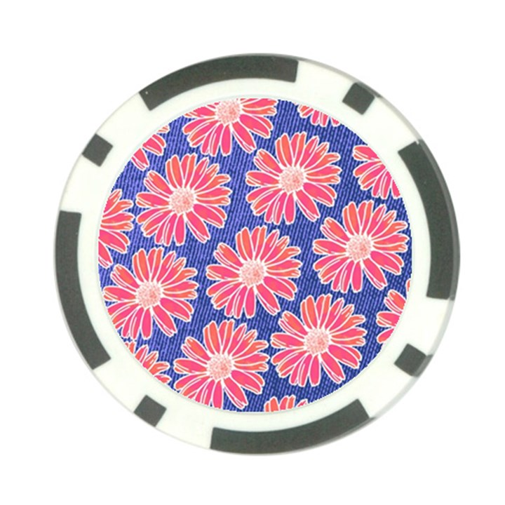 Pink Daisy Pattern Poker Chip Card Guards