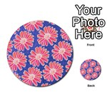 Pink Daisy Pattern Multi-purpose Cards (Round)  Front 46